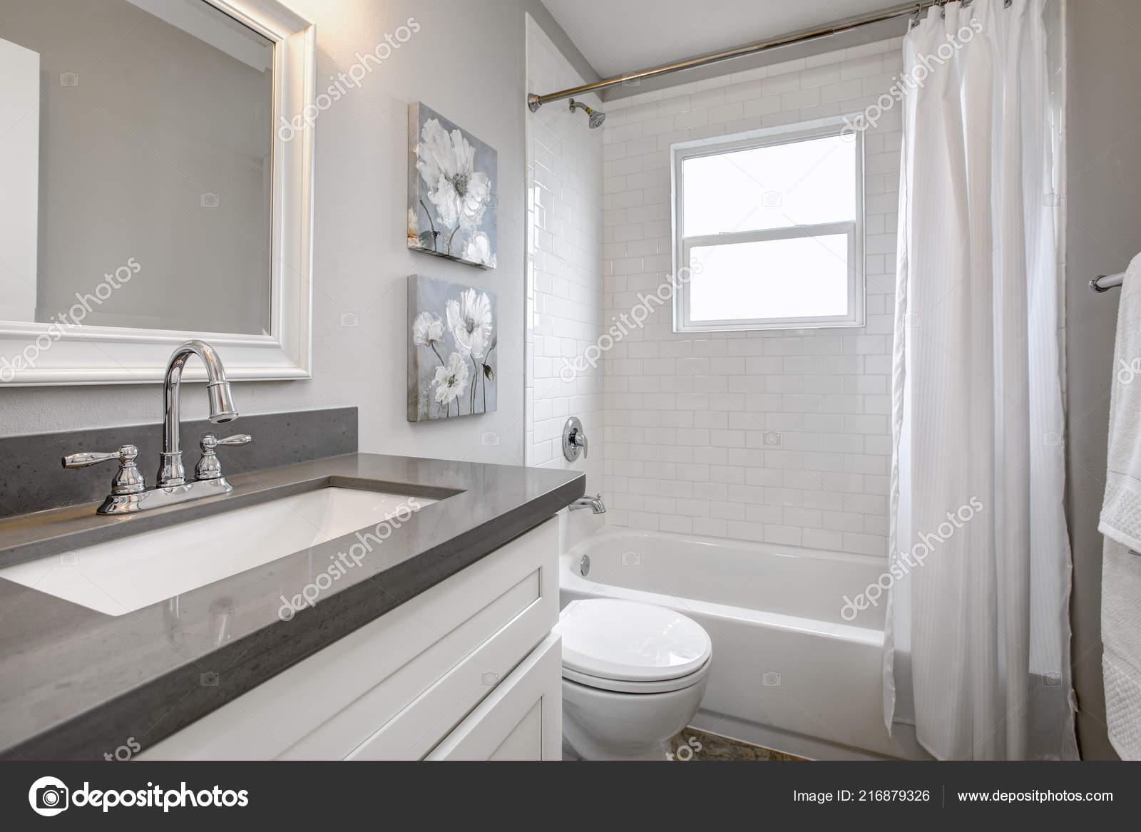 Modern Bathroom Interior White Vanity Topped Gray Countertop Stock Photo C Iriana88w 216879326