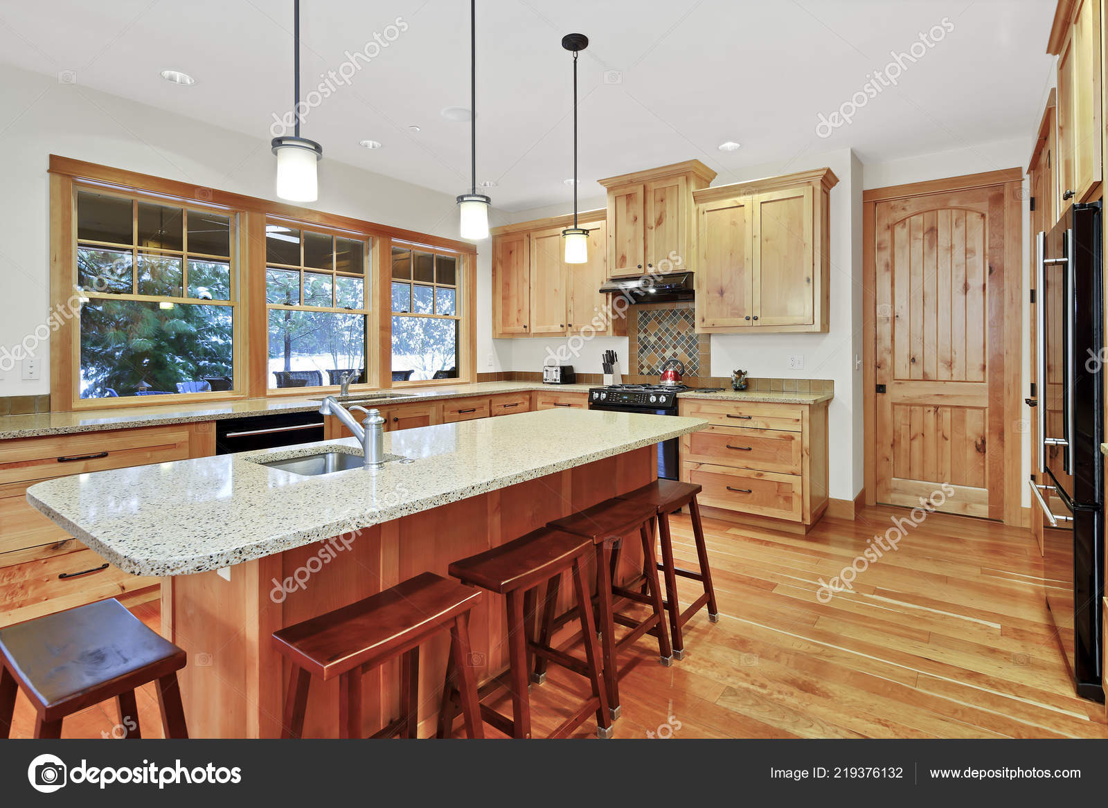 Pictures Granite Countertops With Oak Cabinets Beautiful Kitchen Light Wood Cabinets Granite Counter Tops Large Center Stock Photo C Iriana88w 219376132