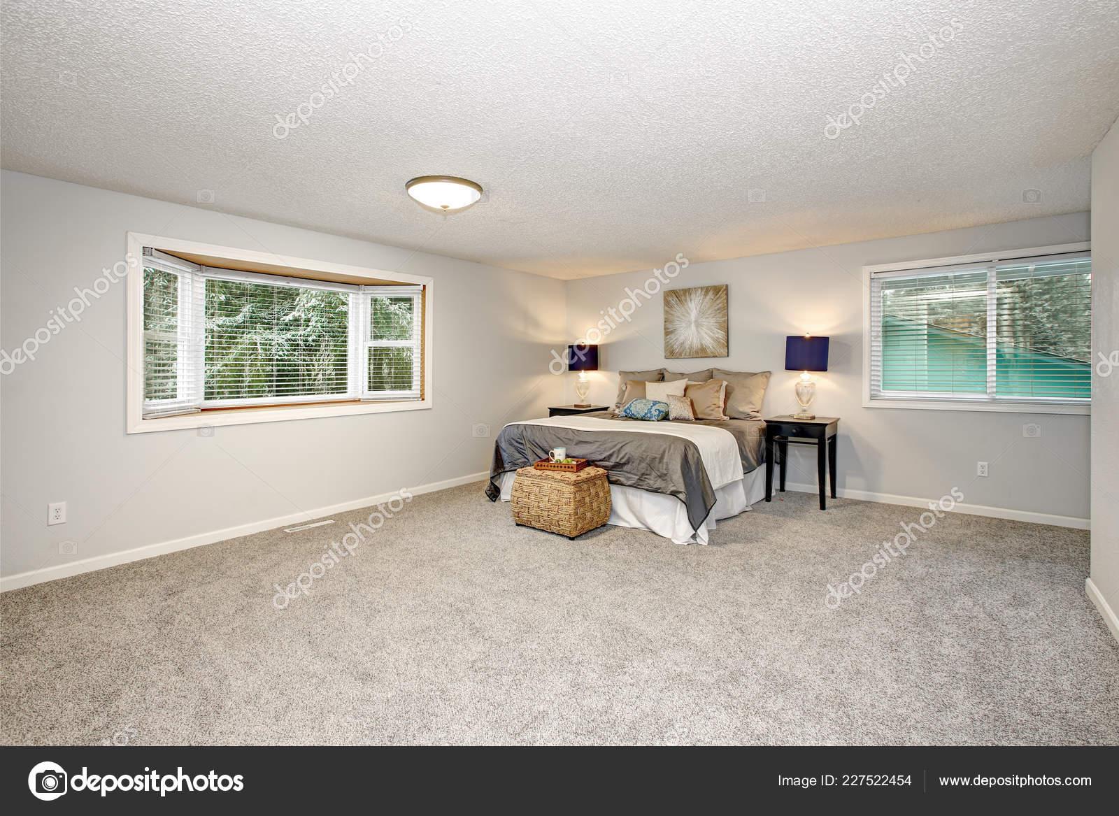 Master Bedroom Lots Space Grey Carpet Floor Rattan Trunk — Stock Photo