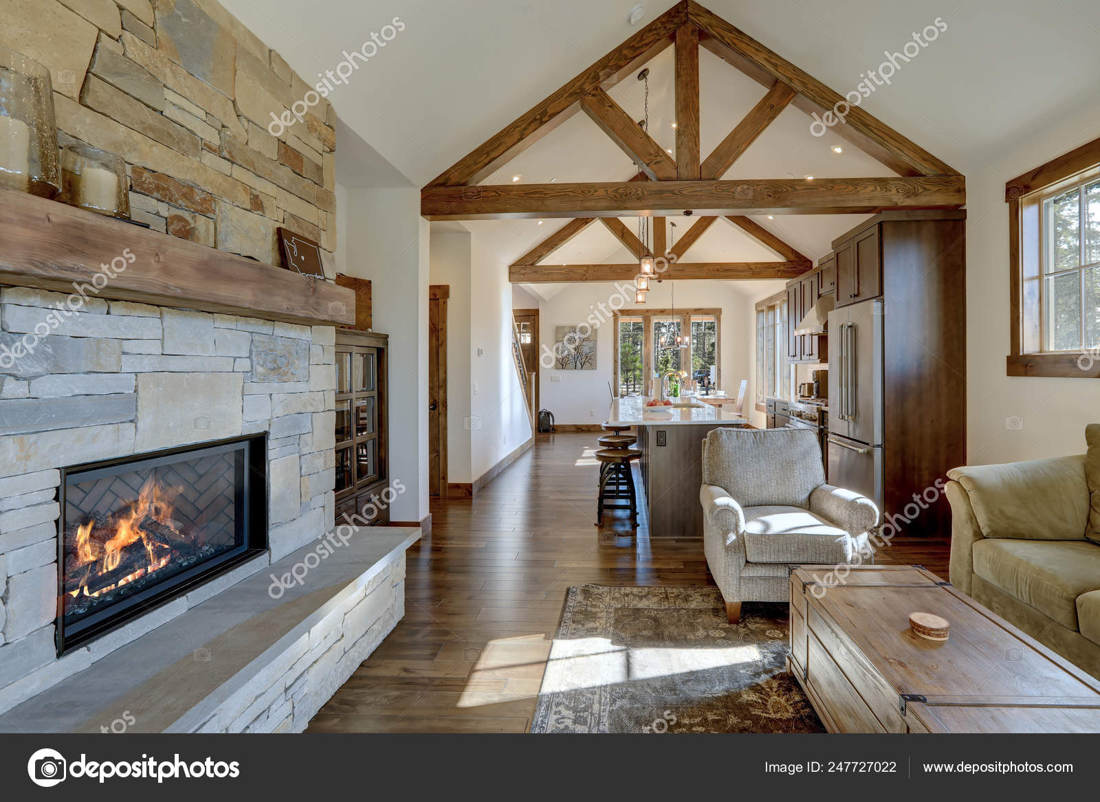 Elegant Rustic Living Room Accented Fireplace Vaulted Beamed