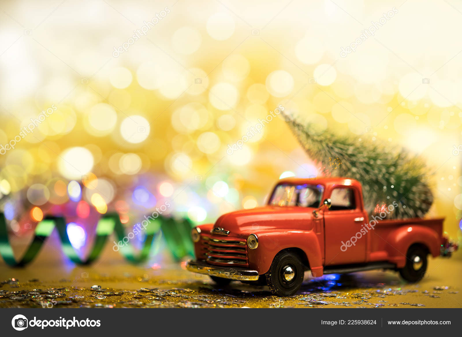 Christmas Red Truck.Christmas Red Truck With A Christmas Tree Stock Photo