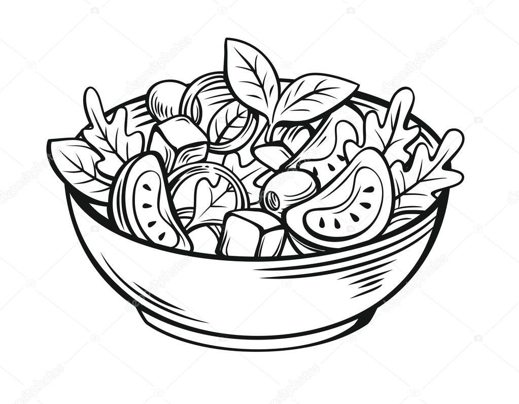 Картинка салат для детей на прозрачном фоне раскраска