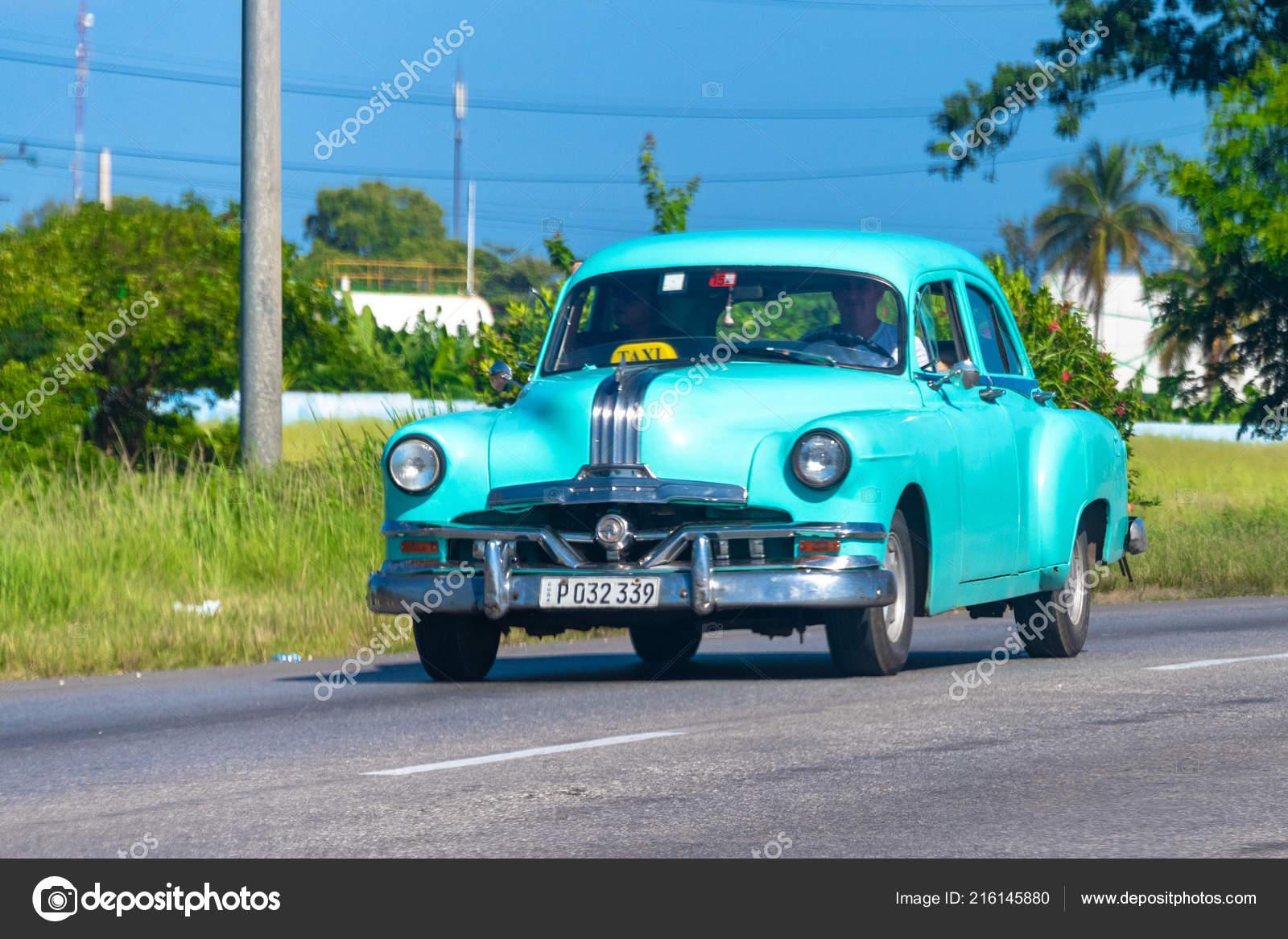 Vintage Cuban Green Car Driving Varadero Highway Vehicle Working