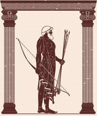 The hero of the ancient Greek myths Odysseus. Warrior with a weapon in the temple between the columns. Archer with a bow and arrows in his hands.