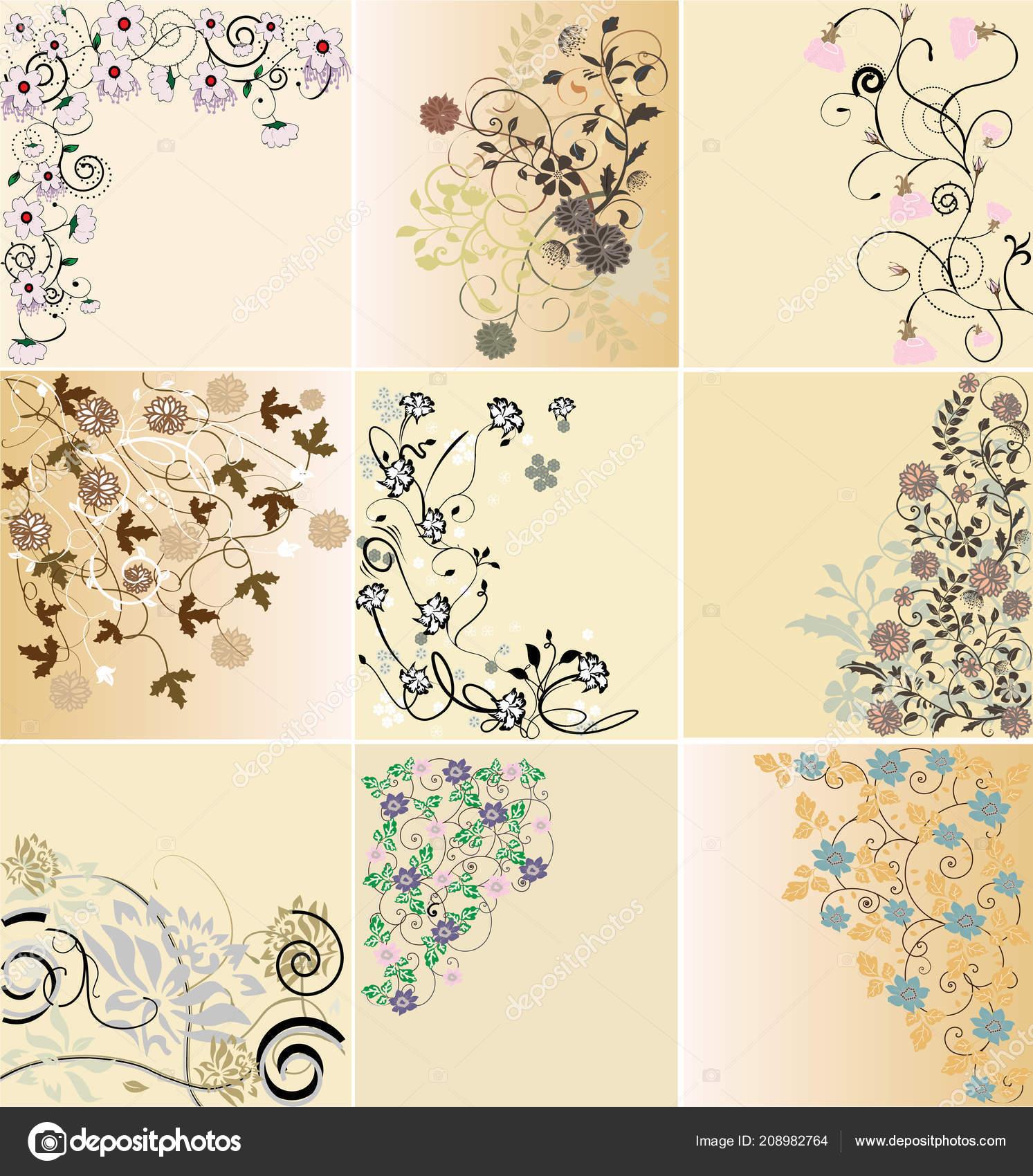 Tarjeta Invitación Vintage Con Diseño Floral Abstracto Retro
