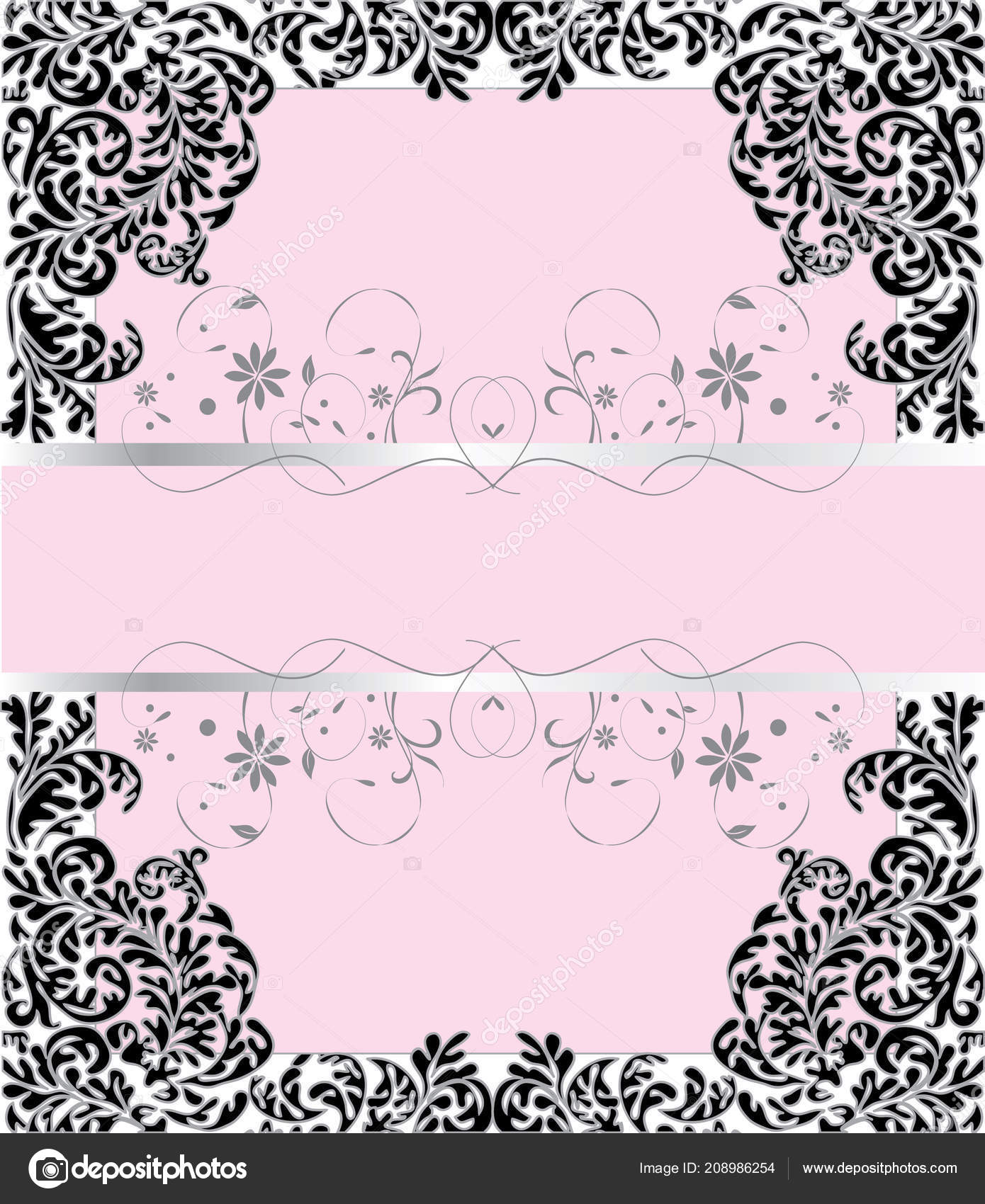 vintage invitation card ornate elegant retro abstract floral design