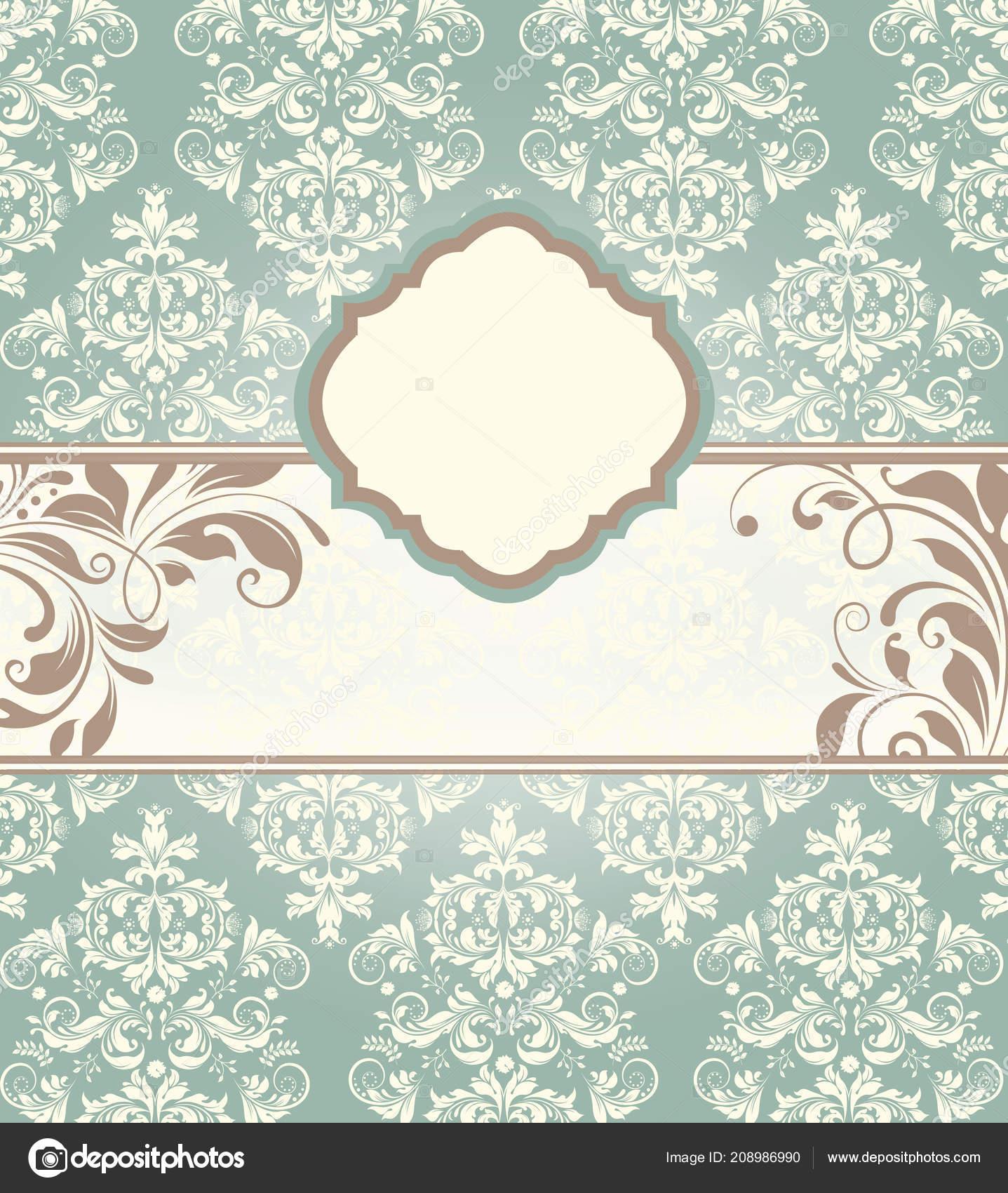 Vintage Invitation Card Ornate Elegant Abstract Floral Design Light
