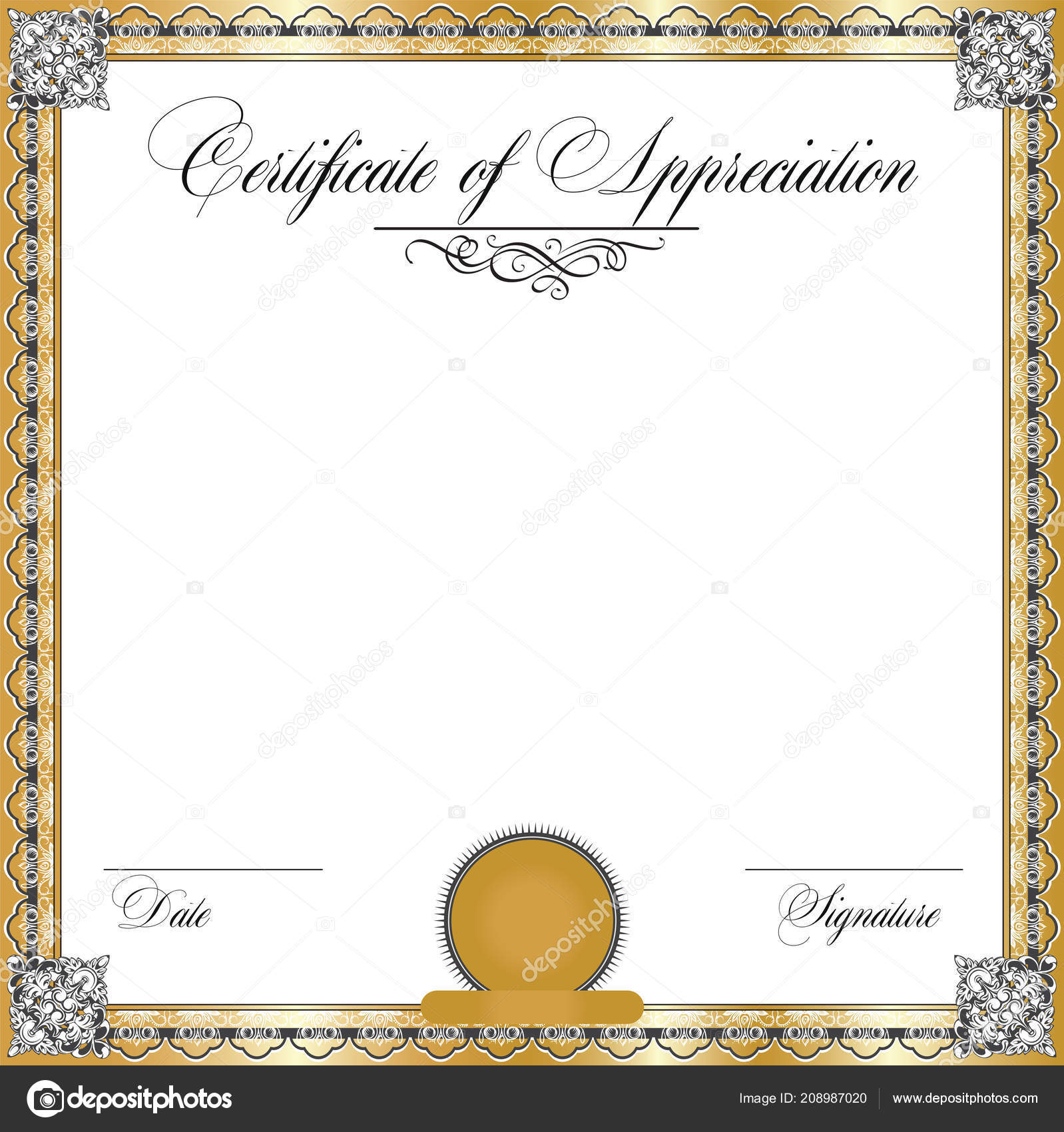 vintage certificate appreciation ornate elegant retro abstract