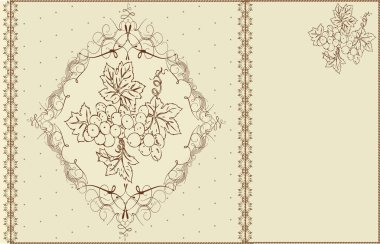 Vintage invitation card with ornate elegant abstract floral grapes design, brown on gray. Vector illustration.