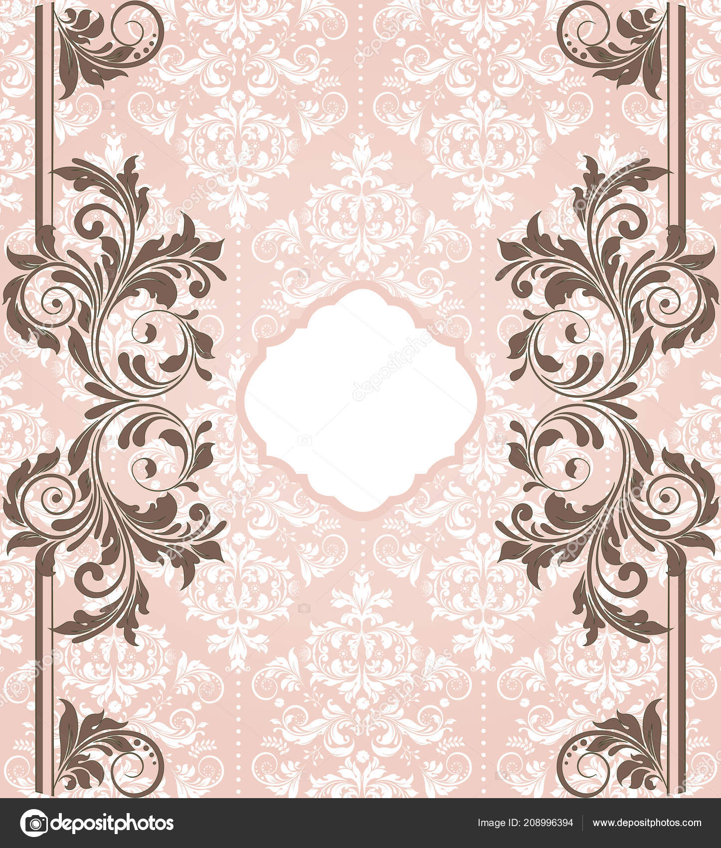 Vintage Invitation Card Ornate Elegant Abstract Floral Design Brown