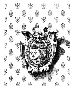 Emblem showing the  joined crowns of France and Poland on the wa