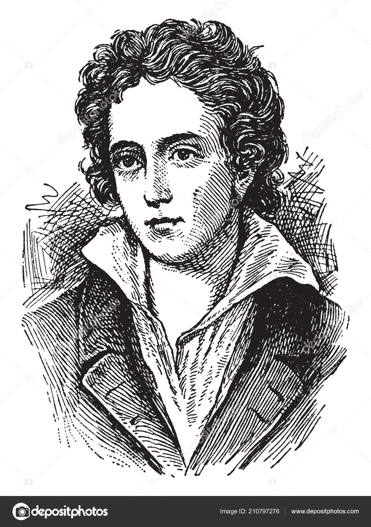 Percy Bysshe Shelley One Major English Romantic Poets Vintage Line — Stock Vector