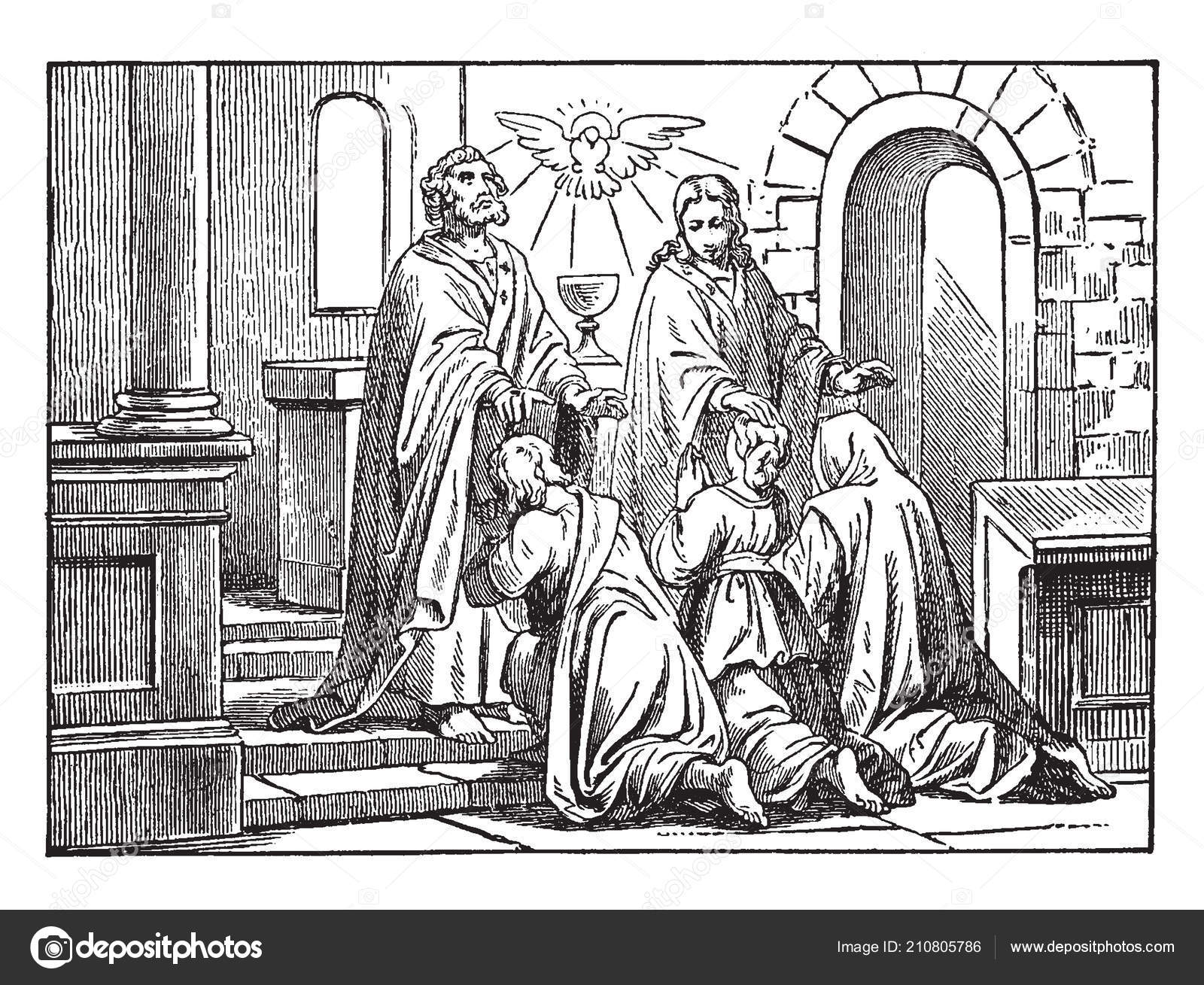 In this picture shown peter and john lay their hands on peoples who convert his religion christianize converts vintage line drawing or engraving