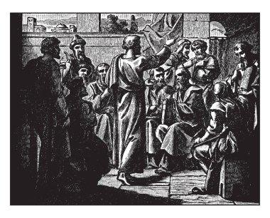 In this picture shown how to Peter Preaches to Jews and Gentiles, vintage line drawing or engraving illustration.