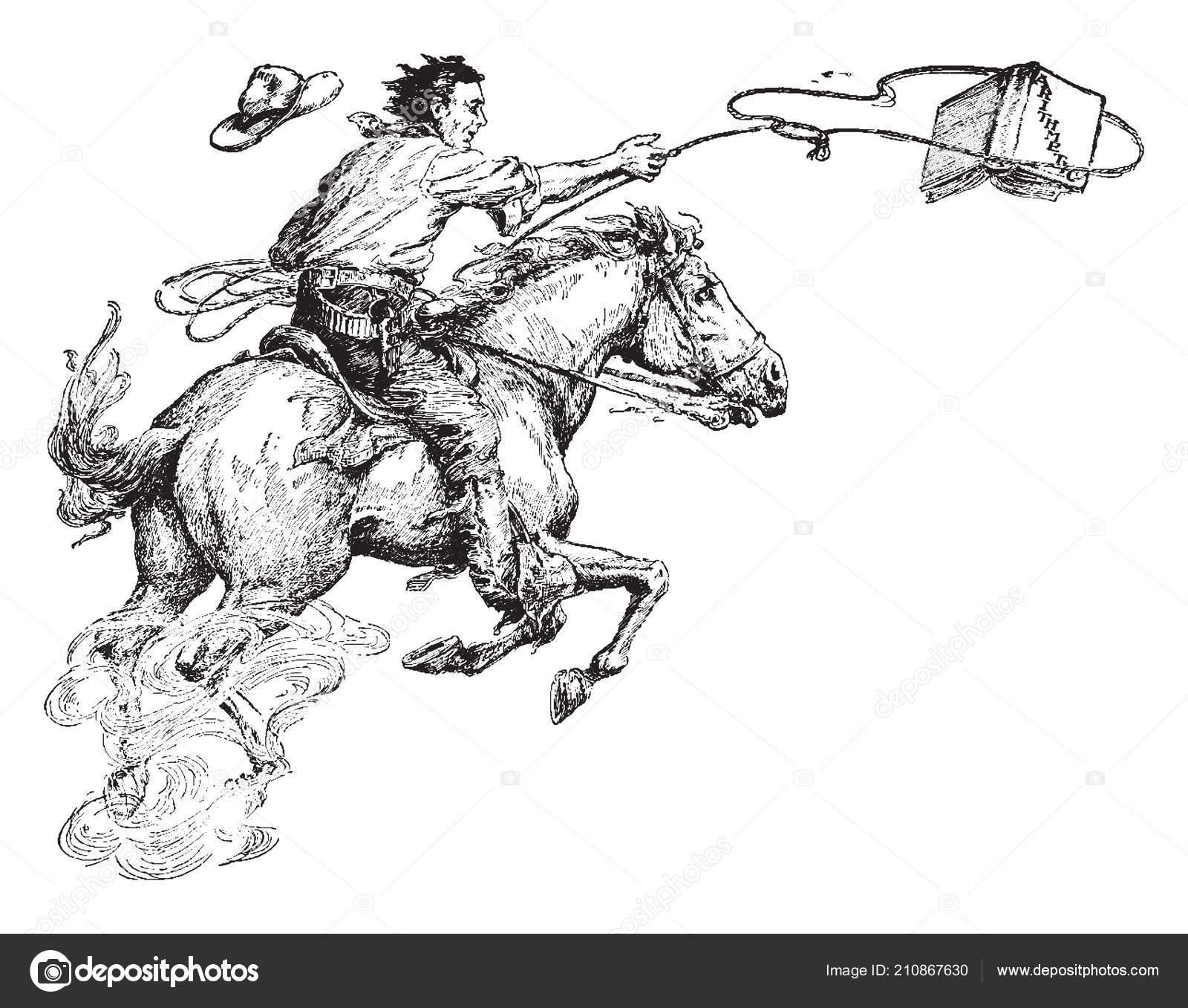 Man Lassoing Book Arithmetic Cowboy Horse Riding Lasso Horseback Riding Stock Vector C Morphart 210867630
