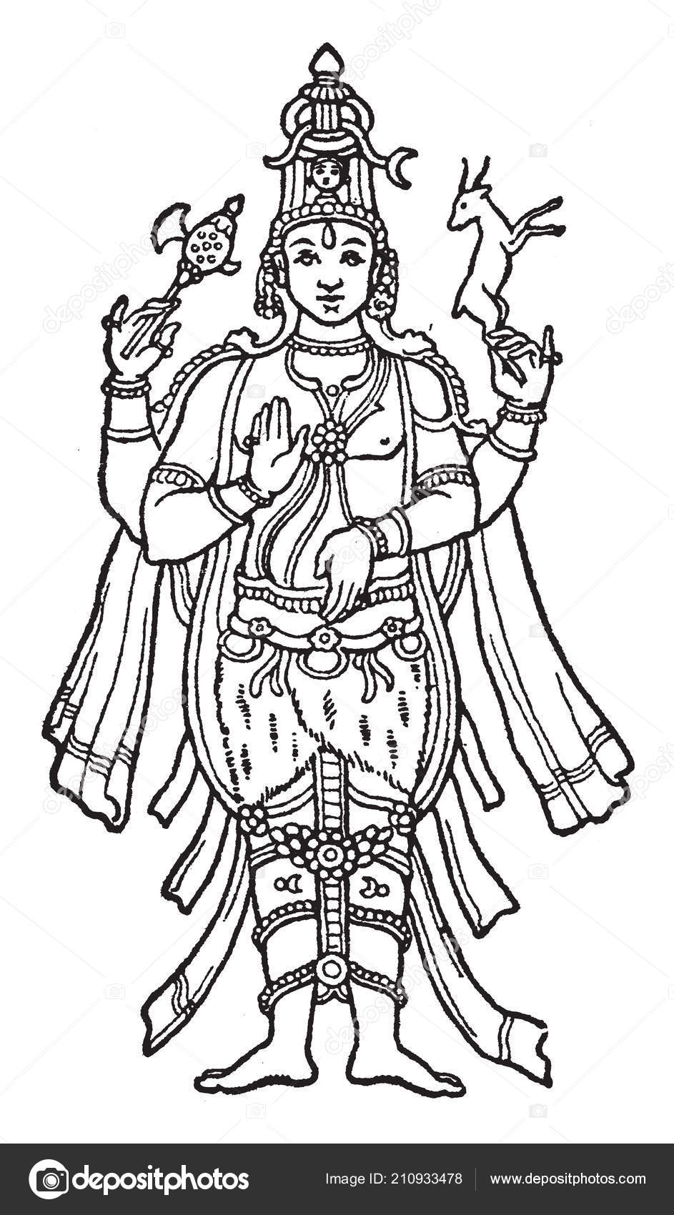 Image lord shiva important place hinduism vintage line drawing engraving stock vector