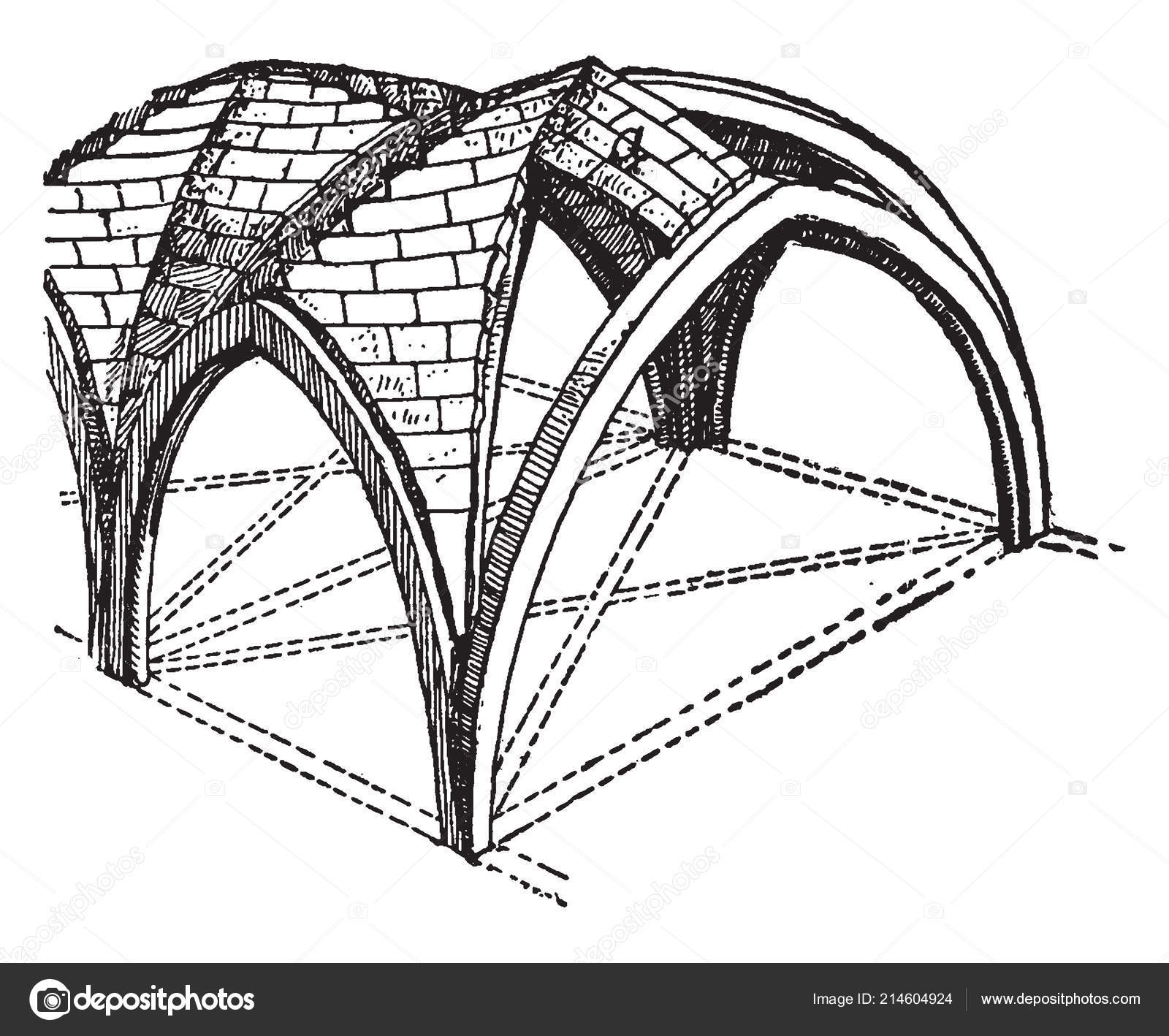 Groined Vault Zigzag Ridge Joints Double Barrel Vault Cross