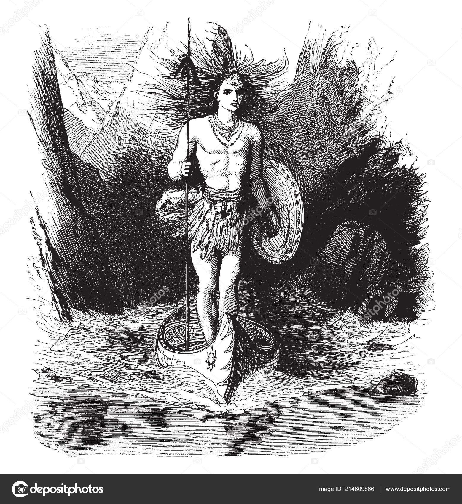 Jeune Homme Debout Canot Dans Eau Tenant Bouclier Lance Dans Image