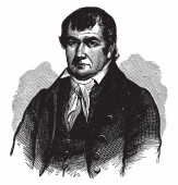 Photo James Robertson, 1742-1814, he was an American explorer, soldier, and one of the founding fathers of the State of Tennessee, vintage line drawing or engraving illustration