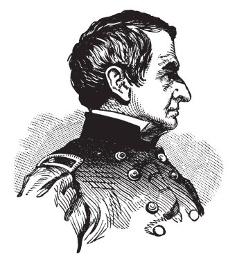 Robert Anderson, 1805 - 1871, he was a U.S. army officer who defied the confederacy and upheld union honour in the first battle of the American civil war at fort Sumter in 1861, vintage line drawing or engraving illustration