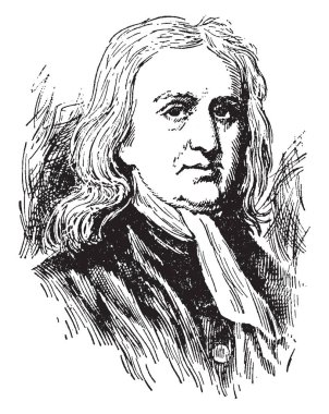 Sir Isaac Newton, 1642-1727, he was an English mathematician, astronomer, and physicist  who discovered the law of gravitation, vintage line drawing or engraving illustration
