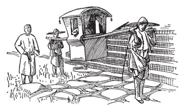 Palanquin is a covered litter usually for one passenger, vintage line drawing or engraving illustration.