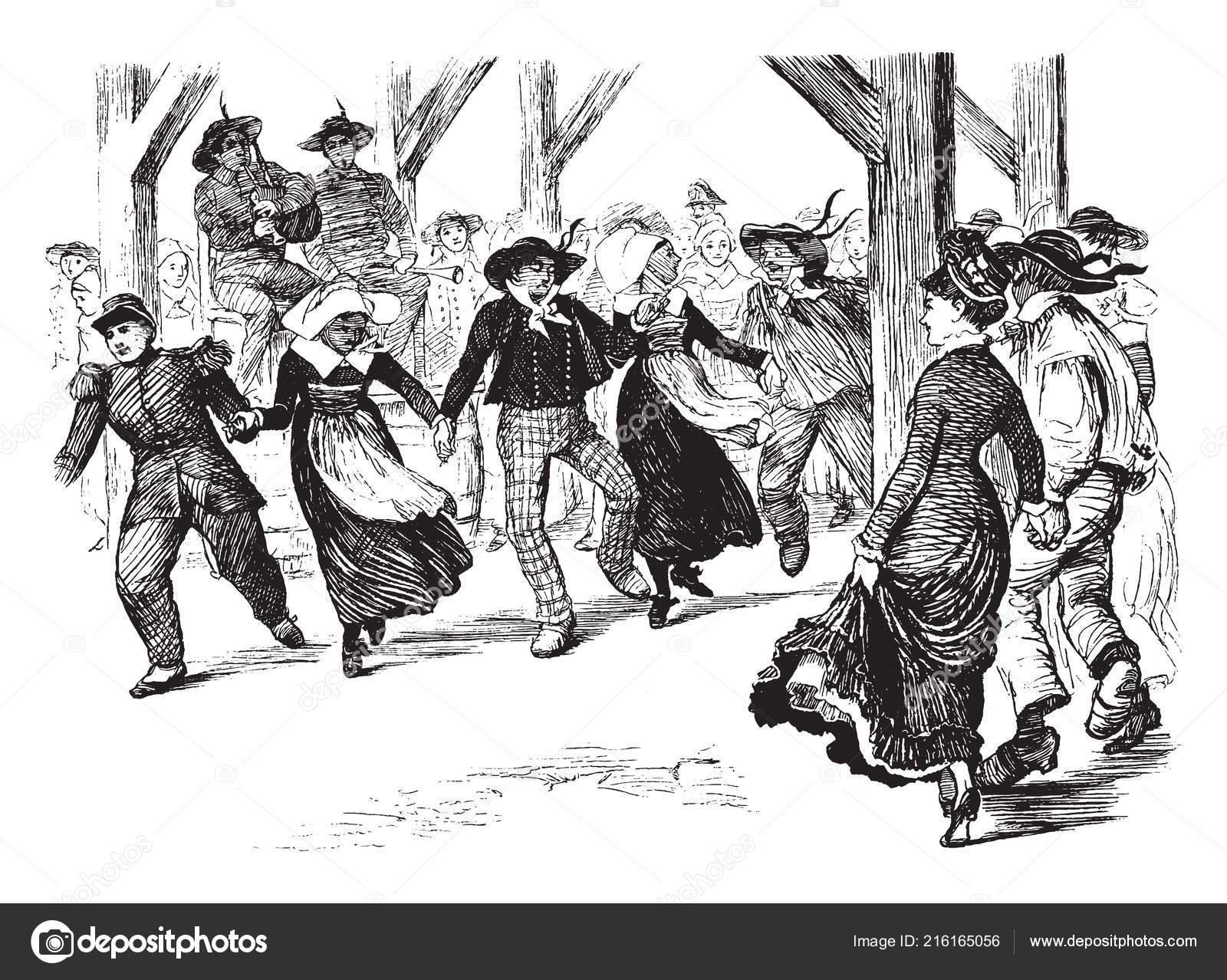 Group dancing men woman opposed individuals dancing alone