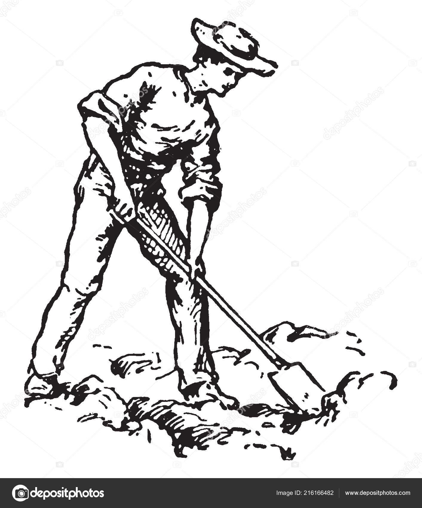 Hombre Cavando Con Pala Vintage Línea Dibujo Ilustración ...