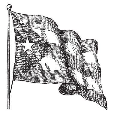 The flag of Cuba was adopted on May 20, 1902, this flag consist of five equal horizontal bands and equilateral triangle, within which five pointed star at the hoist , vintage line drawing or engraving illustration