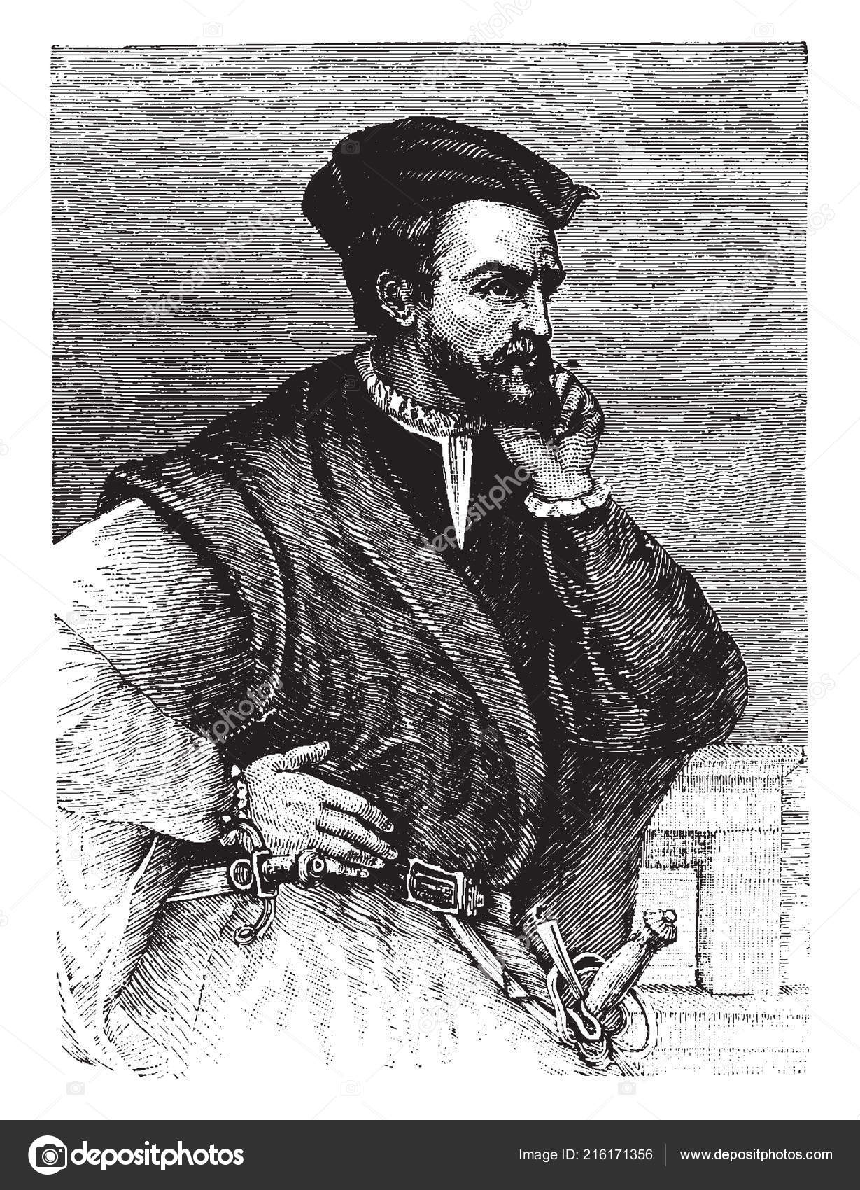 1591b45b Jacques Cartier 1491 1557 Mariner Breton Explorer Who Claimed What — Stock  Vector