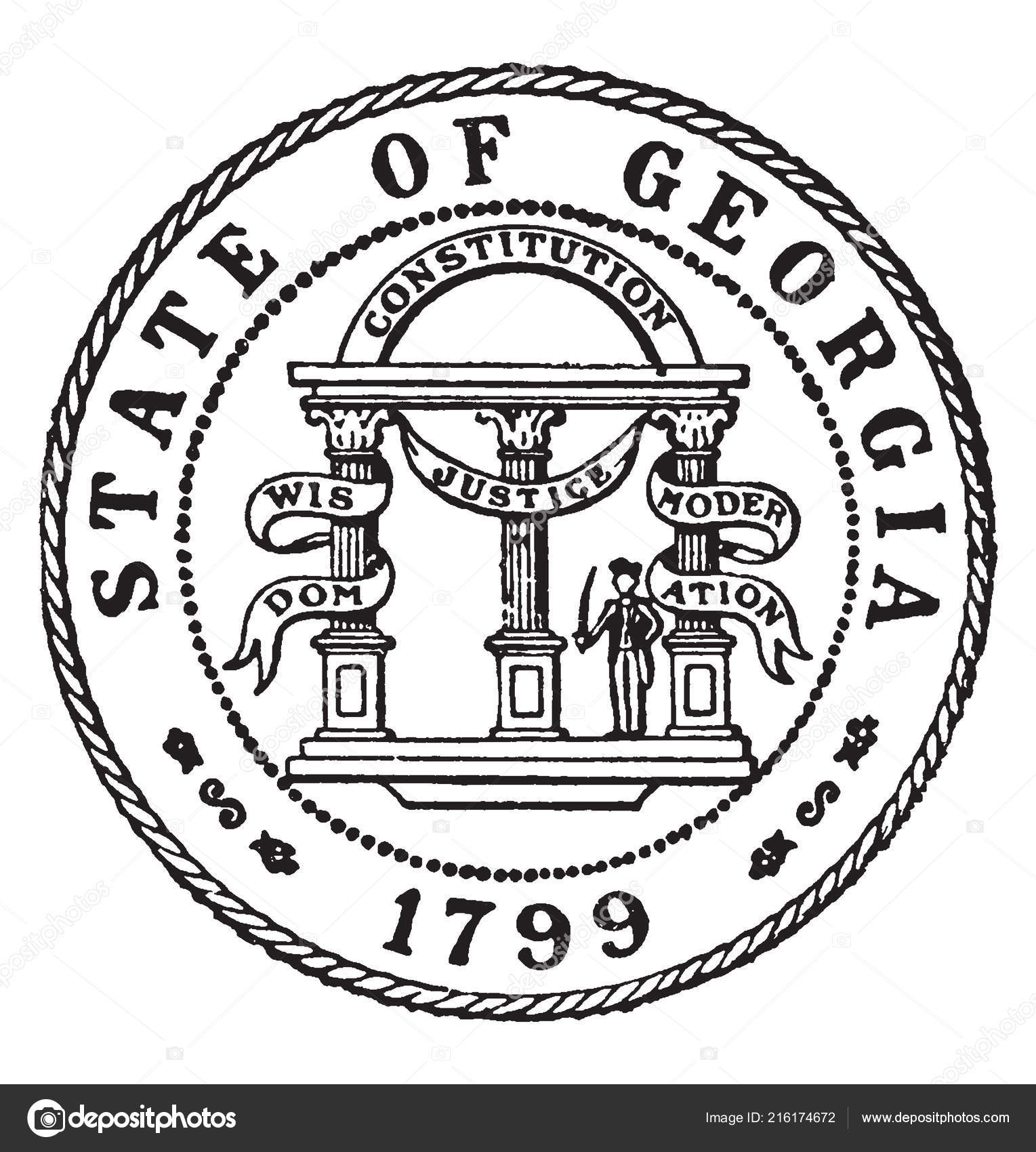 The Seal Of The State Of Georgia 1799 Seal Has An Arch With Three Coloumns With Banners Which Read Wisdom Justice And Moderation And A Sol R With