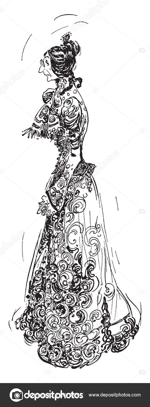 Old Woman Ornate Victorian Era Dress Vintage Line Drawing Engraving