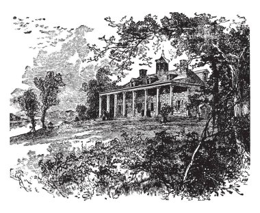 This is the Mount Vernon which is located near what is now Alexandria, Virginia. This is very strong & big house, vintage line drawing or engraving illustration.