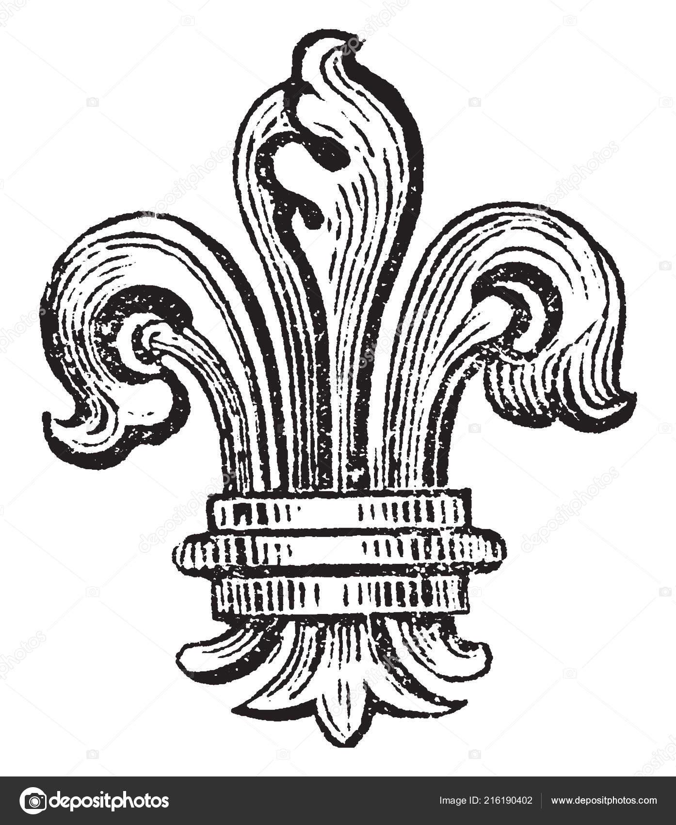 Fleur Lis Bearing Bourbons France Vintage Line Drawing Engraving
