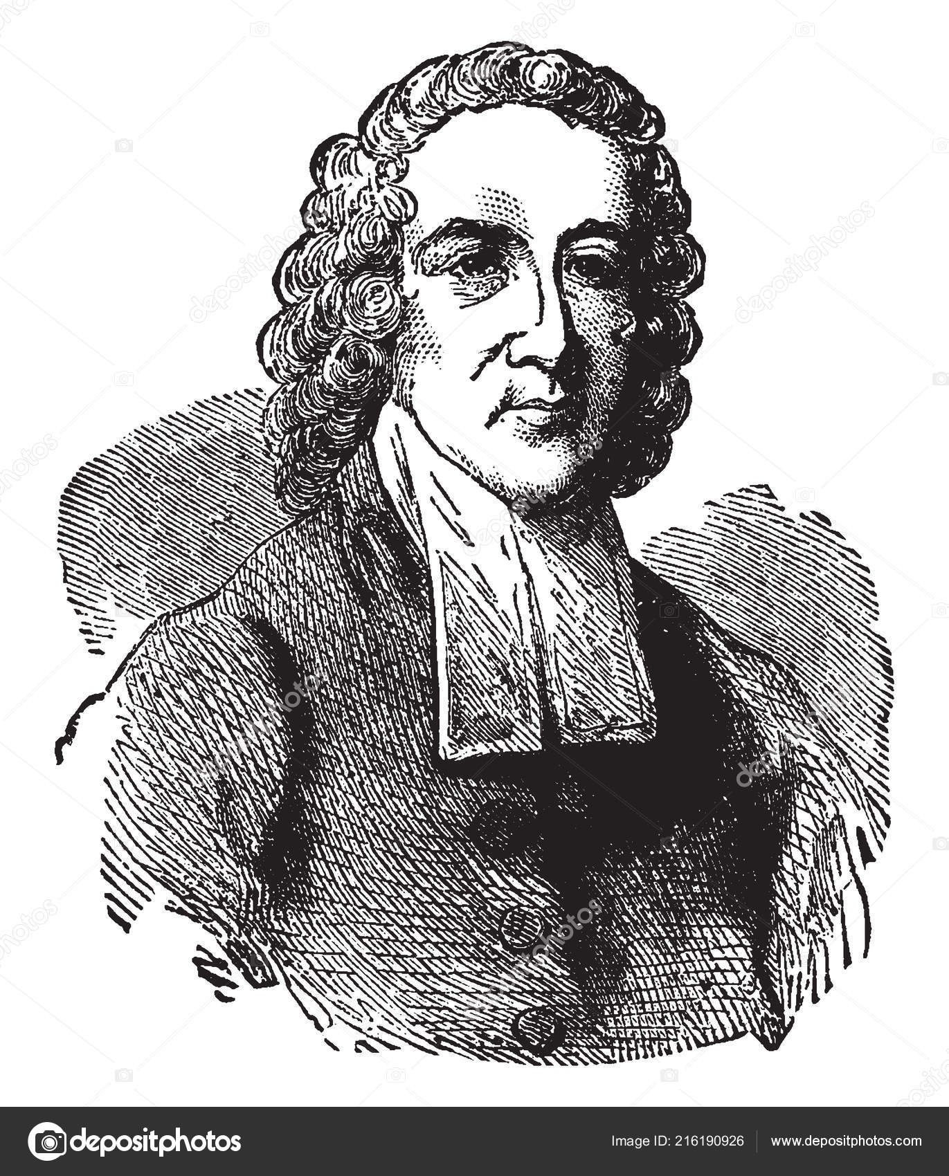 Jonathan Edwards 1703 1758 American Revivalist Preacher Philosopher  Congregationalist Protestant — Stock Vector