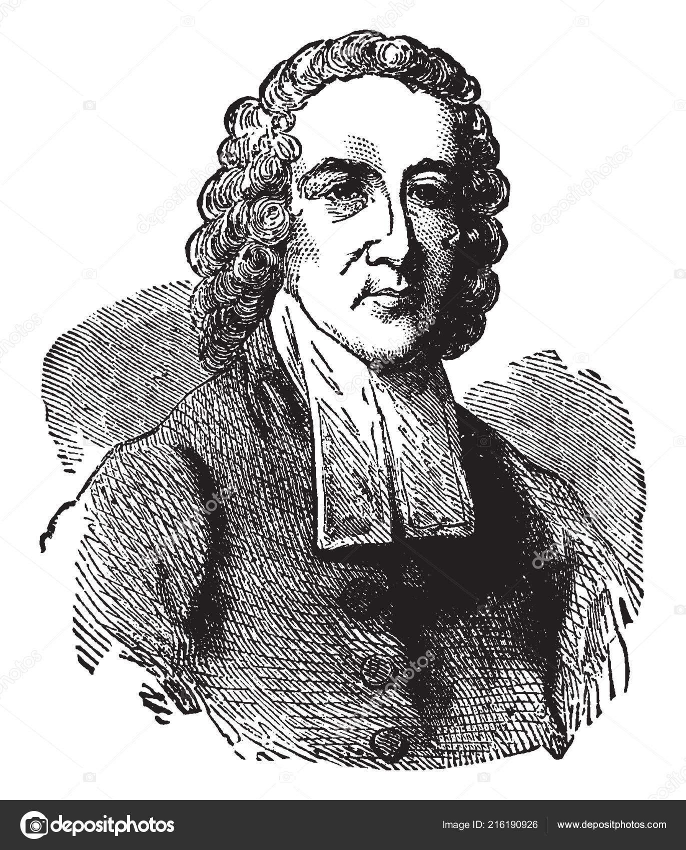 Jonathan Edwards 1703 1758 American Revivalist Preacher Philosopher  Congregationalist Protestant — Stock Vector