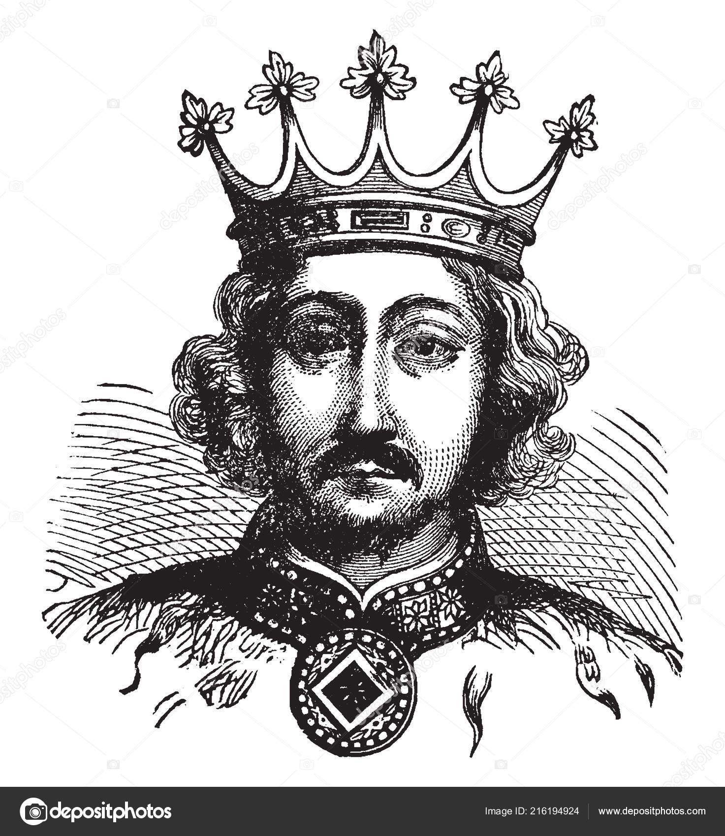Ричард Ii, 1367-1400, он был король Англии от 1377 1399, винтажные  Рисование линии или гравировки иллюстрации — Вектор от ...