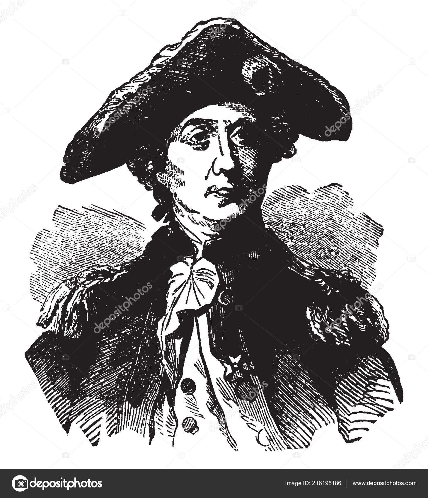 John Paul Jones 1747 1792 United States First Famous Naval — Stock Vector