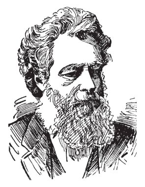 William Morris, 1834-1896, he was an English textile designer, poet, novelist, translator, and socialist activist, vintage line drawing or engraving illustration