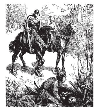 Geraint and Enid, this scene shows a man and woman riding on two horses, another man sitting on ground and doing something, trees in background, vintage line drawing or engraving illustration