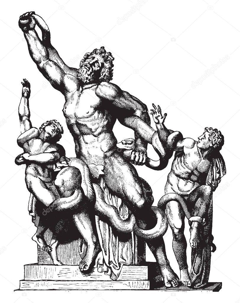 Una Estatua Del Sacerdote Troyano Laocoonte Sus Dos Hijos Que