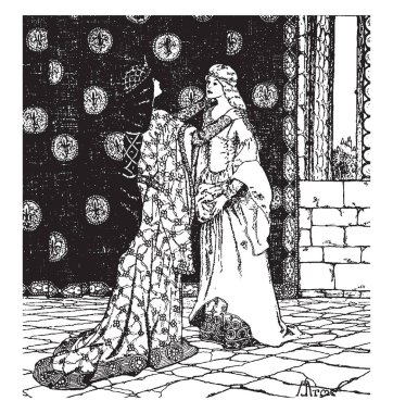 Guinevere and Enid, this scene shows two females standing facing towards each other, one female wore crown kept both hands on another female's shoulder, vintage line drawing or engraving illustration