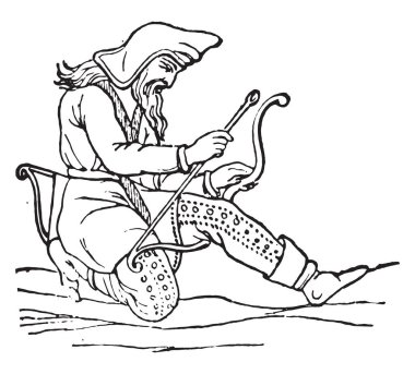 Scythian Costumes (after the carving of a vase found in a tomb in Tauris), vintage engraved illustratio
