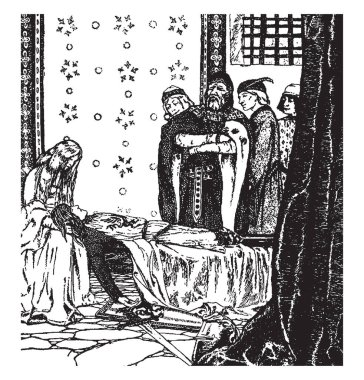 Enid Watching over Geraint, this scene shows standing man watching another man lay on his deathbed, one female kept head of man on her lap, three people standing behind, vintage line drawing or engraving illustration