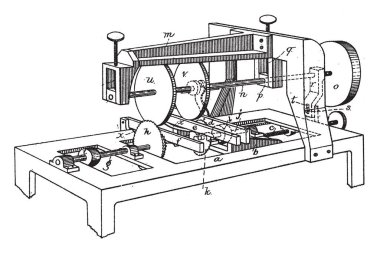 This illustration represents Machine for Sawing Grooving, vintage line drawing or engraving illustration.