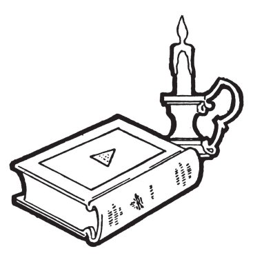 Book and candle or Roman Catholicism, major excommunication, anathema, vintage line drawing or engraving illustration.