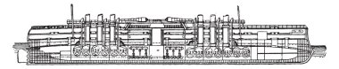 Italia, Italian battleship, vintage engraved illustration. Industrial encyclopedia E.-O. Lami - 1875