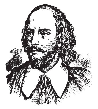 William Shakespeare, 1564-1616, he was an English poet, playwright, actor, and the greatest writer in the English language, famous as the England's national poet and the Bard of Avon, vintage line drawing or engraving illustration