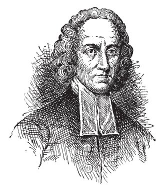 Jonathan Edwards, 1703-1758, he was an American revivalist preacher, philosopher, and Congregationalist protestant theologian, vintage line drawing or engraving illustration