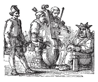 King Cole, this scene shows the king sitting on chair and three fiddler playing musical instruments in front of the king, vintage line drawing or engraving illustration